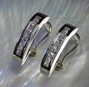 """1"""" long earrings in 14KW & Diamonds"""