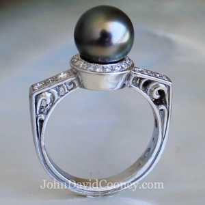 Tahitian Pearl diamonds 14K Palladium