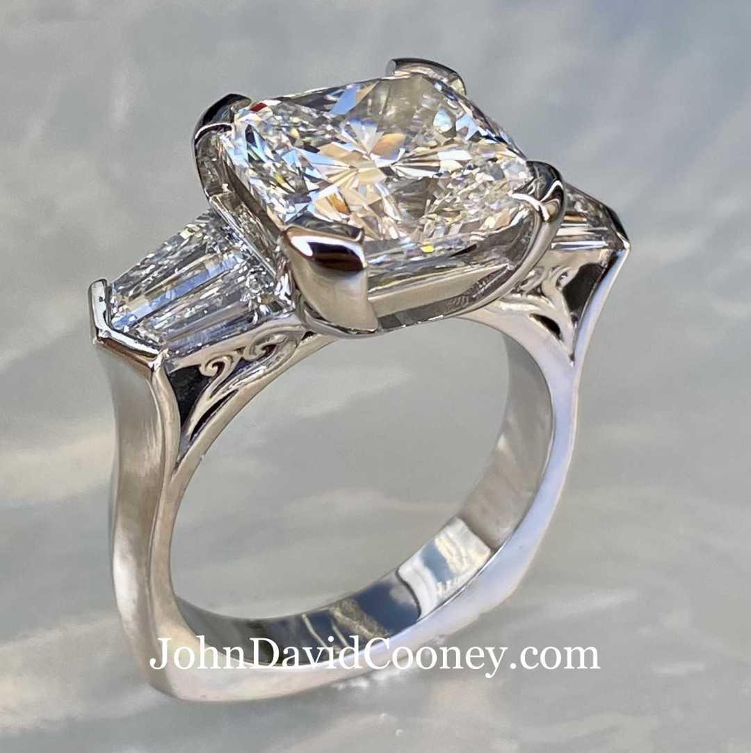 Platinum 95% Gallium-Ruthenium 5%, 5.03CT Center diamond with GIA report Custom cut baguettes