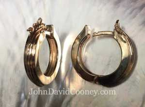 Small oak leaf earrings, hinged hoop, 12.5 Diameter