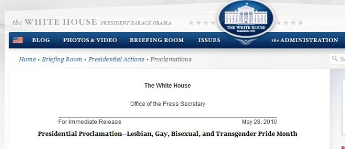 Obama proclaims gay month