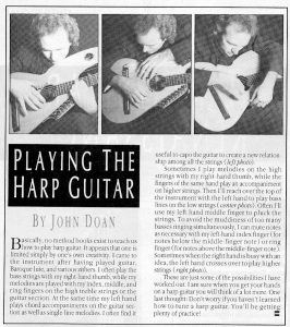 Excerpt from Frets Magazine article on playing the harp guitar