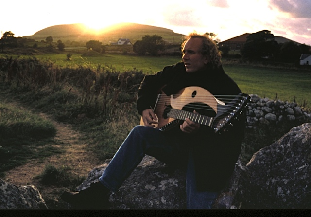 John Doan with the harp guitar at Carrowmore
