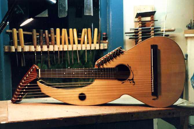 Sullivan-Elliot Harp Guitar at completion - photograph by Jeffrey Elliott
