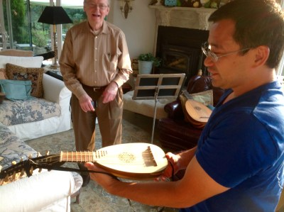 Dick laughs when Hideki says he knows a little lute music for his instrument