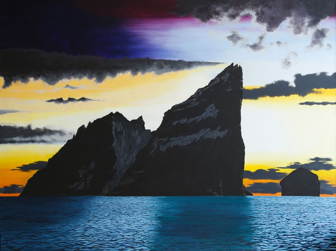 Painting of Stac an Armin sea stac in St Kilda Scotland