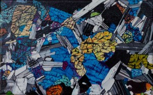 Painting of a thin section micrograph of Olivine Gabbro