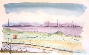Painting of the shoreline at Speke showing red hut and Mersey Estuary