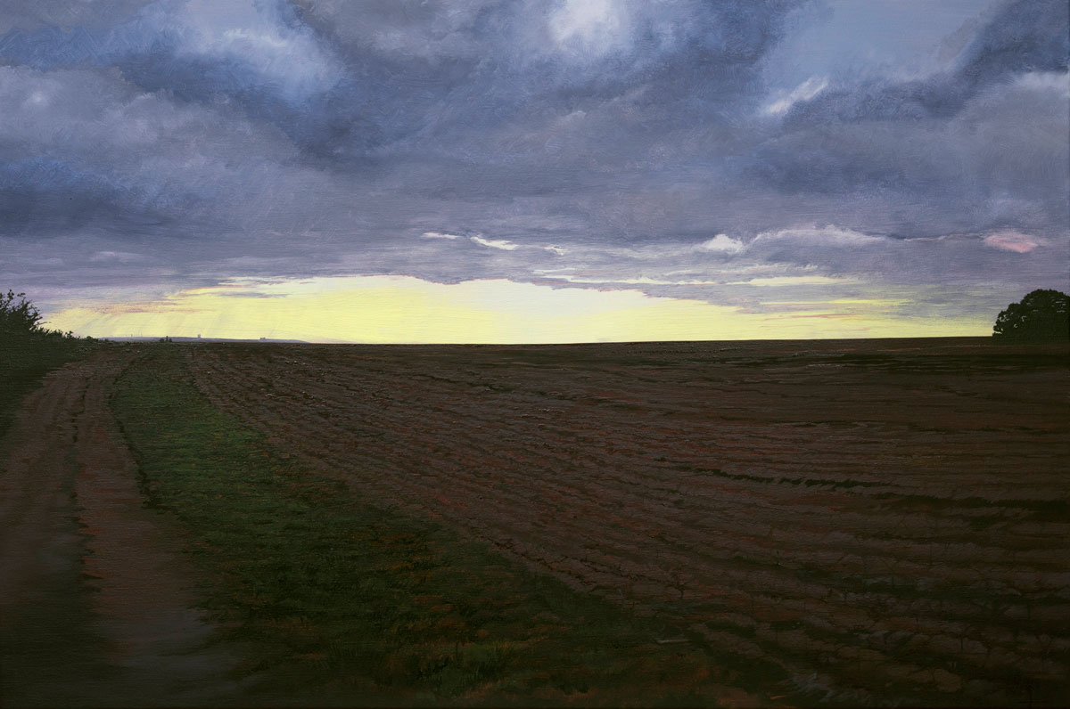 Painting of the fields at Hale Shore near the Lighthouse in the first morning light