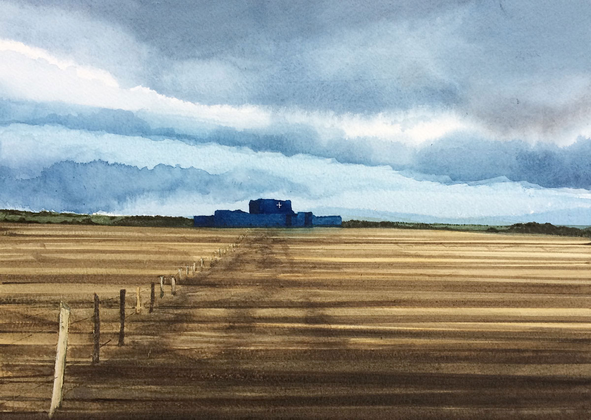 Watercolour painting of Camber Castle near Rye
