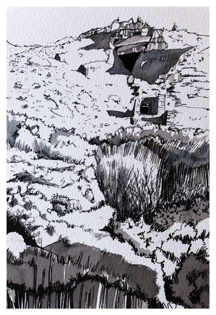 Drawing of Aberllefenni slate quarry