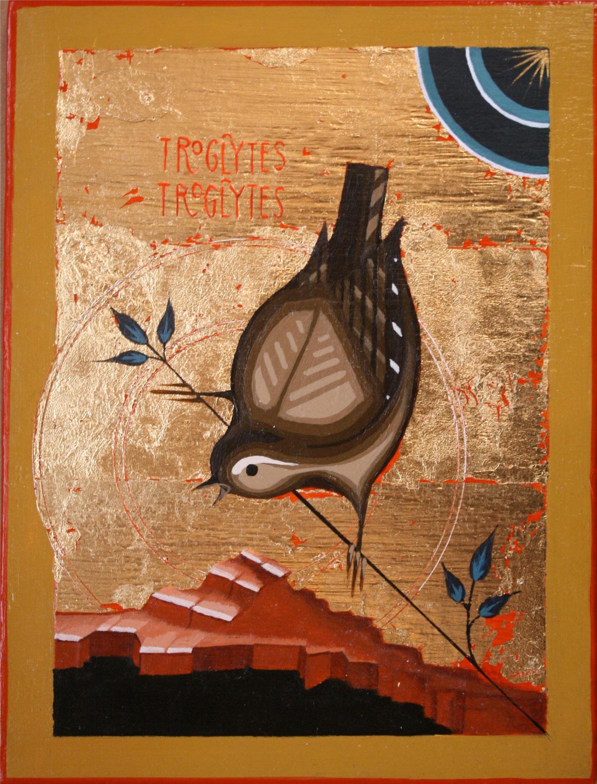 Ikon painting of a wren, troglodytes troglodytes