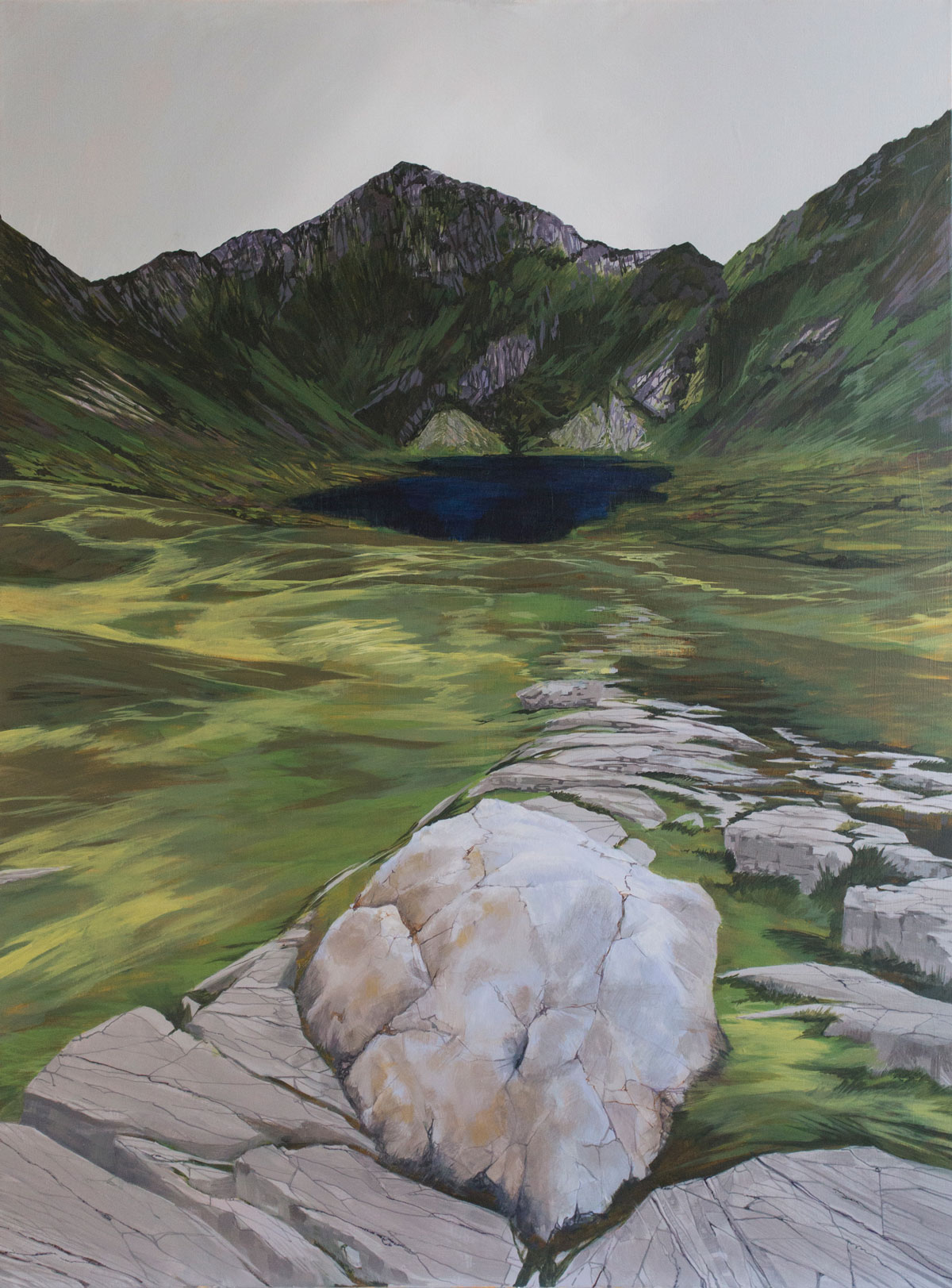 Painiting of Cadair Idris Wales and a quartz erratic boulder