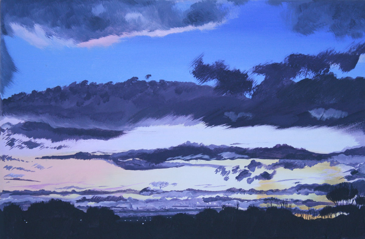 Painting of a winter sky over Mossley Hill Liverpool