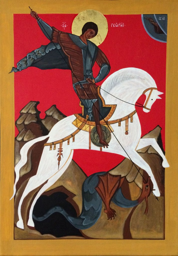 Copy of the Icon of St George and the Dragon: 15th century, Novogorod, Russia.
