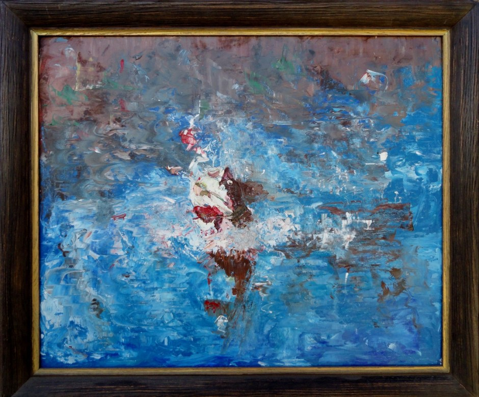 Mid century painting of a bass breaking the waters surface to attack a lure. Signed, and dated 1966. Framed acrylic painting on board.