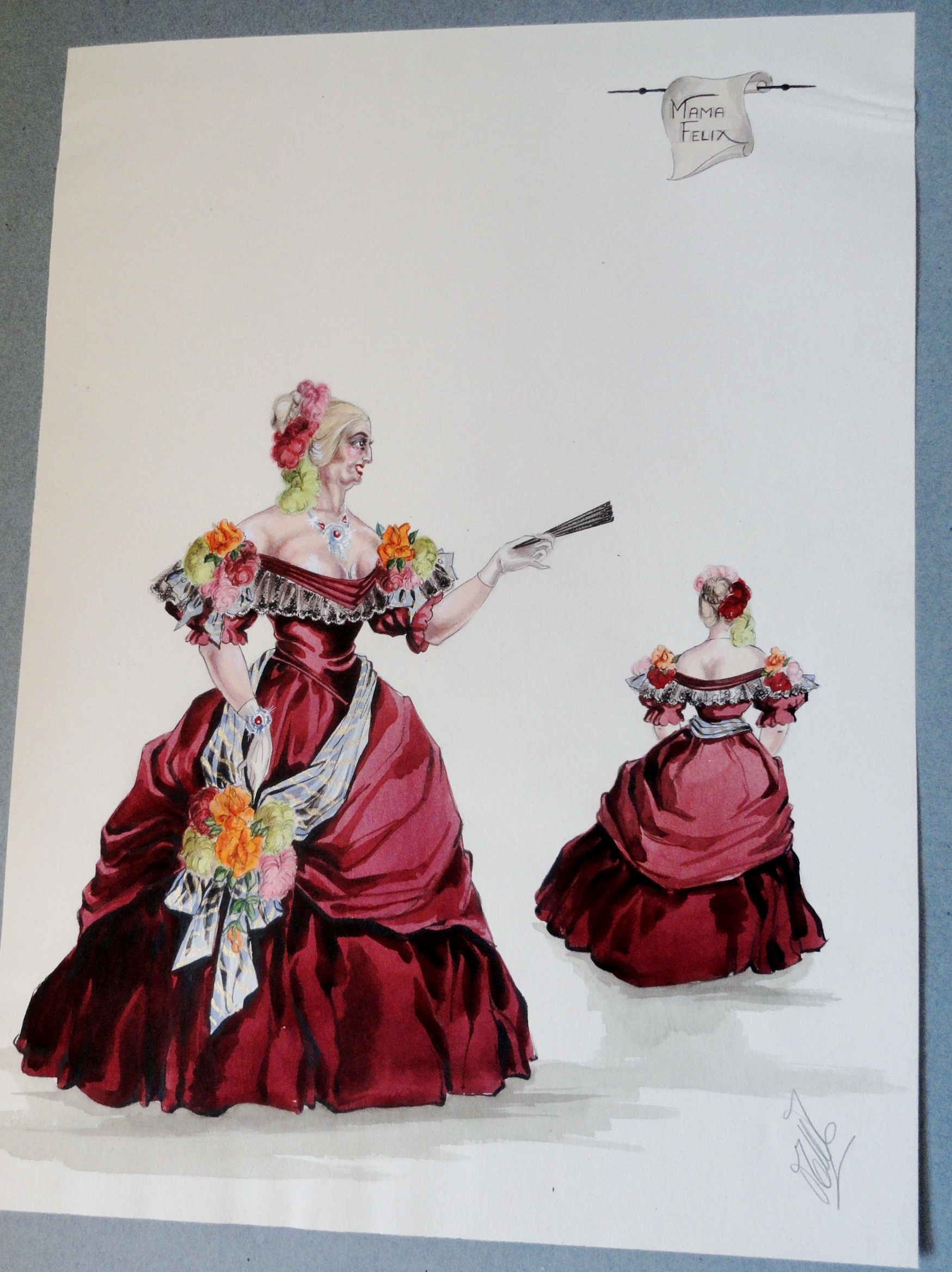 Rachel Mama Felix in red gown. Pen and Ink and Watercolor. From the Rachel Portfolio by Owen Hyde Clark. $300.00.