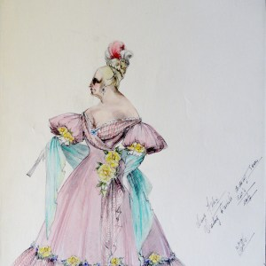 Rachel Mama Felix in pink gown with yellow flower accents