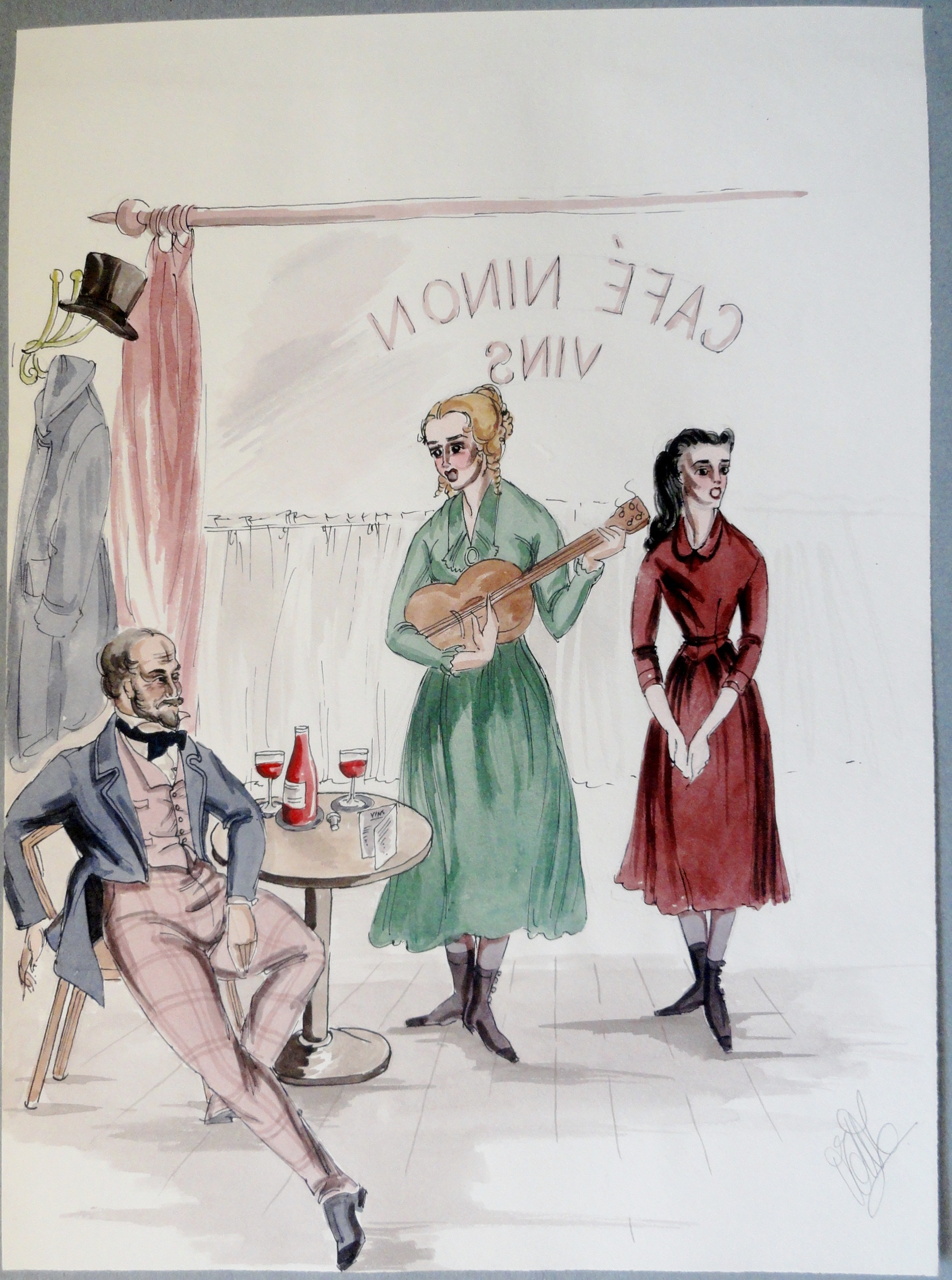 Rachel and sister sing for Alfred de Musett. Pen and Ink and Watercolor. From the Rachel Portfolio by Owen Hyde Clark. $150.00.