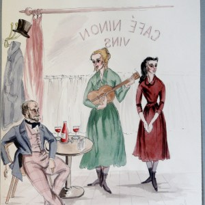 Rachel and sister sing for Alfred de Musett. Pen and Ink and Watercolor. From the Rachel Portfolio by Owen Hyde Clark.
