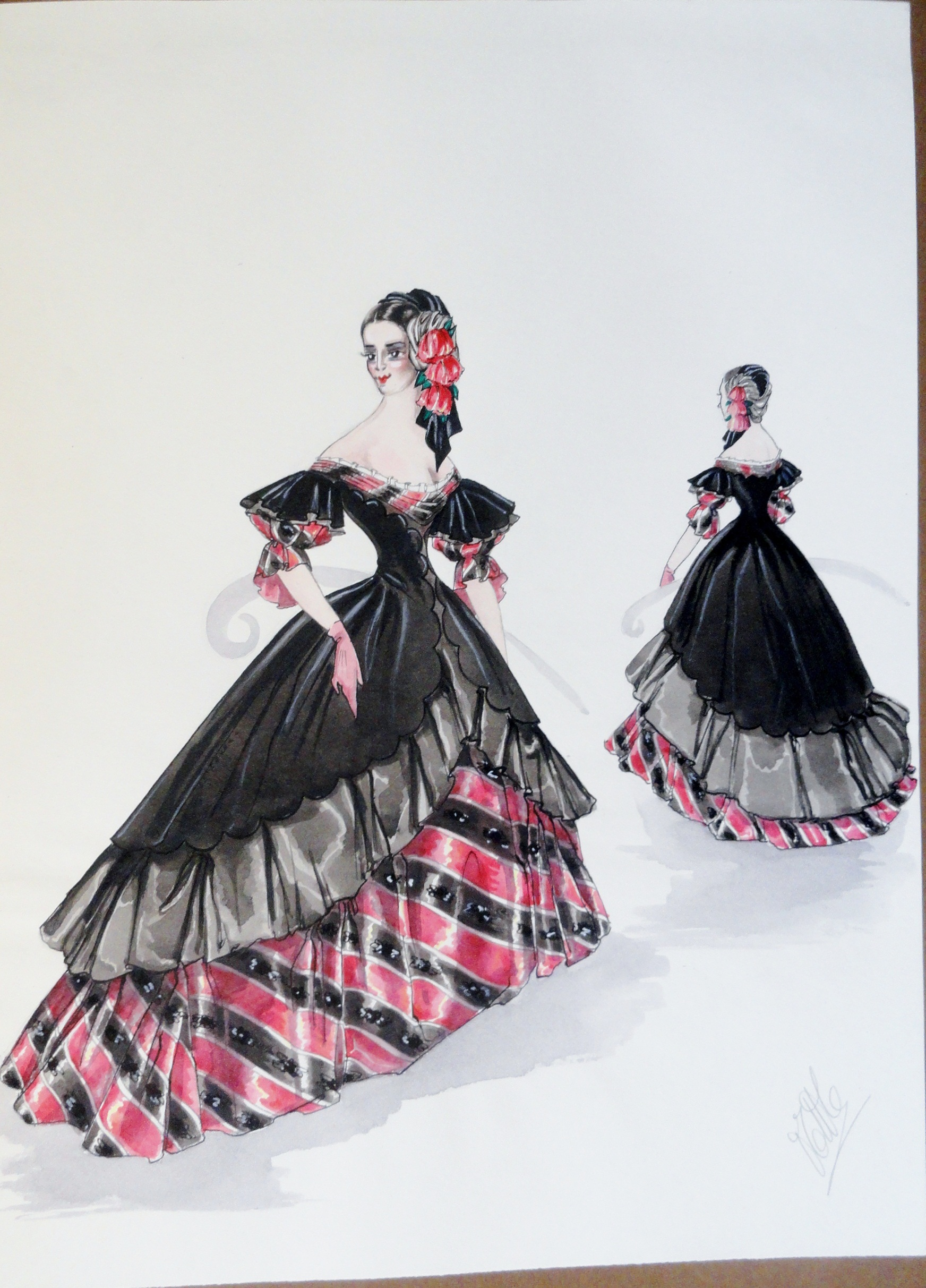 Rachel Felix in beautiful Spanish black and red gown.  Pen and Ink and  Gouache. From the Rachel Portfolio by Owen Hyde Clark. $400.00.