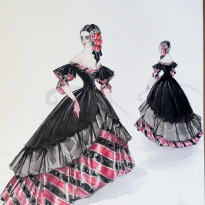Rachel Felix in beautiful Spanish black and red gown.  Pen and Ink and  Gouache. From the Rachel Portfolio by Owen Hyde Clark.