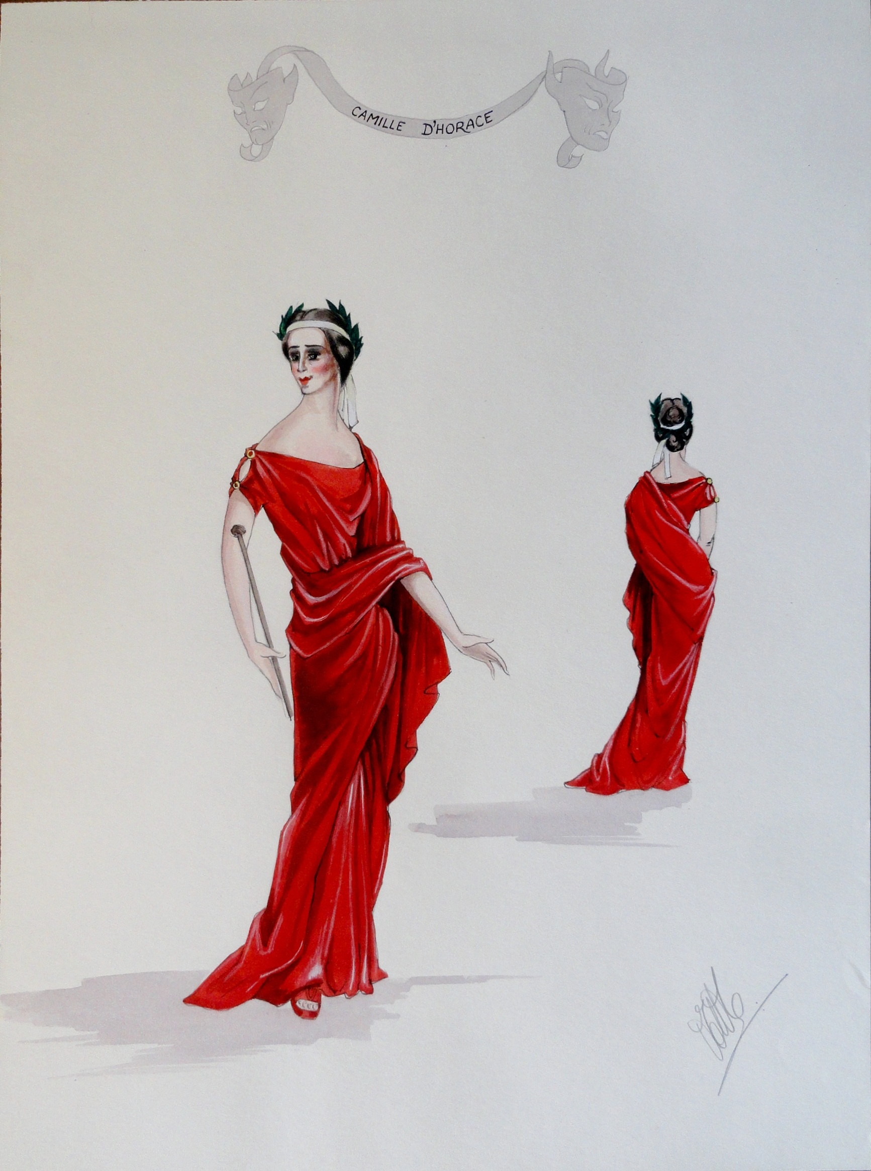 Rachel as Camille d'Horace in red grecian revival dress. Pen and Ink and Gouache. From the Rachel Portfolio by Owen Hyde Clark.