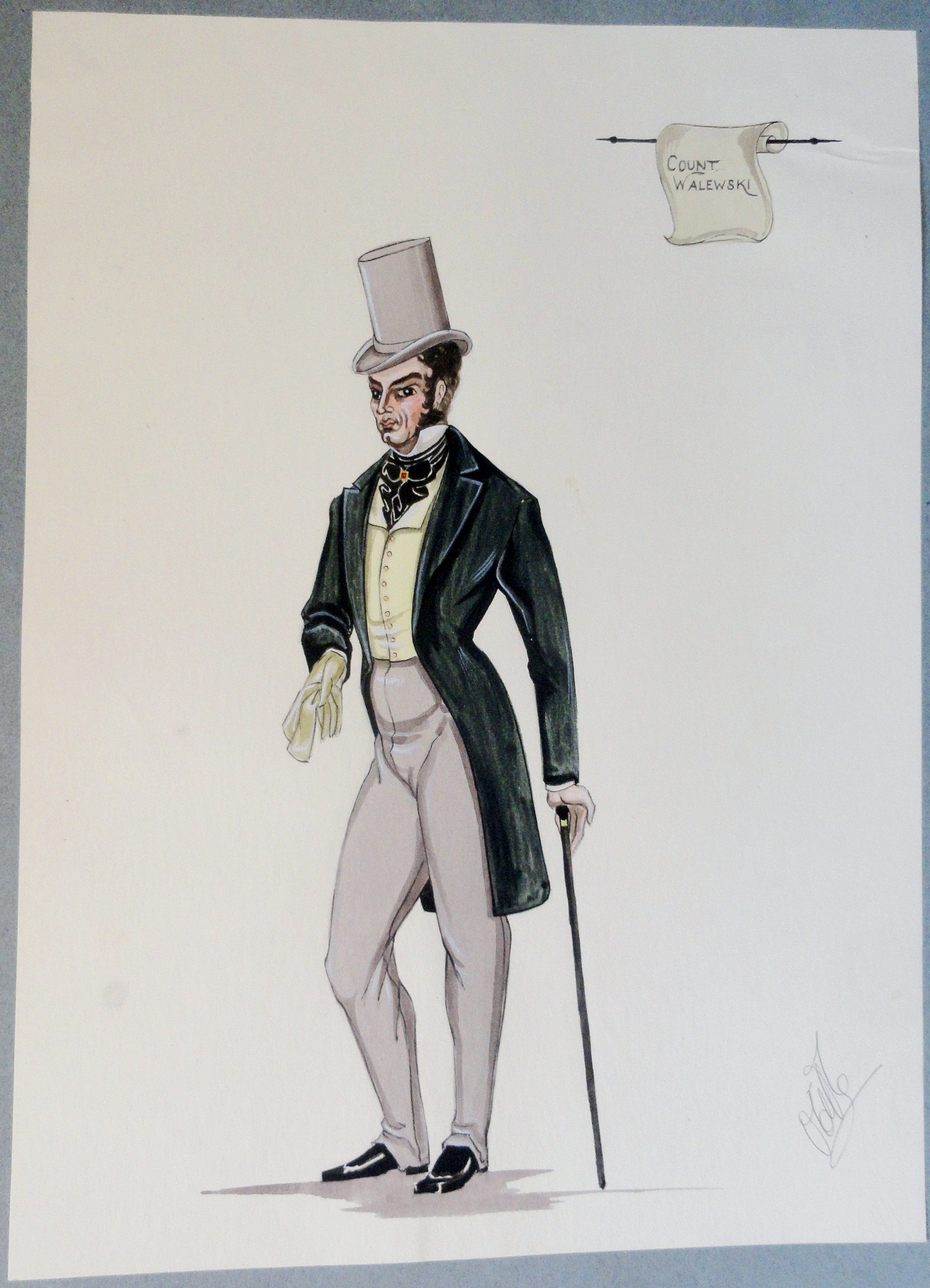 Count Walewski. In green jacket, yellow vest, blacktie, and grey stuvepipe hat.  Pen and Ink and Watercolor. From the Rachel Portfolio by Owen Hyde Clark. $300.00.