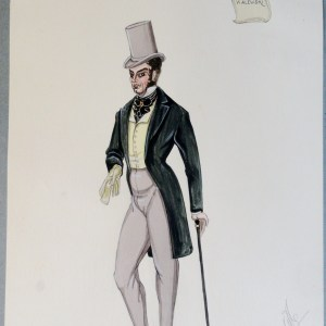 Count Walewski. In green jacket, yellow vest, black tie, and grey stovepipe hat.  Pen and Ink and Watercolor. From the Rachel Portfolio by Owen Hyde Clark.