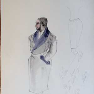 Dr Veron, study, robe with purple lapel, with artists' notes. Pen and Ink and Watercolor. From the Rachel Portfolio by Owen Hyde Clark.