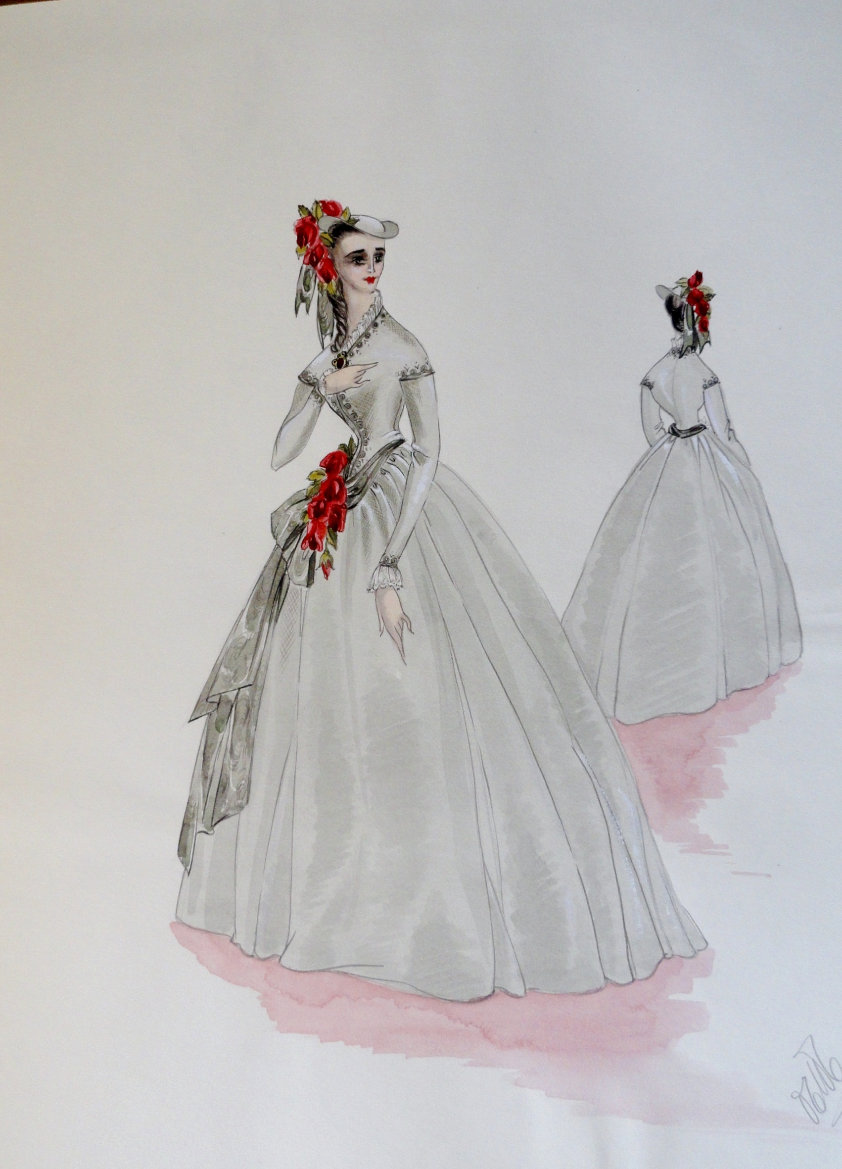 Rachel sister Annette in a grey gown and bonnet with red flowers. Pen and Ink and Watercolor. From the Rachel Portfolio by Owen Hyde Clark. $300.00.