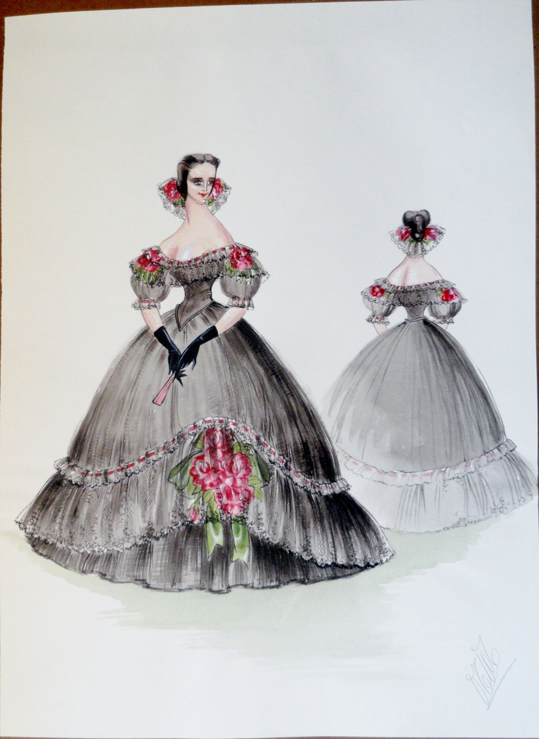 Rachel Felix in full Spanish style black gown with rose accents. Pen and Ink and Gouache. From the Rachel Portfolio by Owen Hyde Clark. Signed. $400.00.