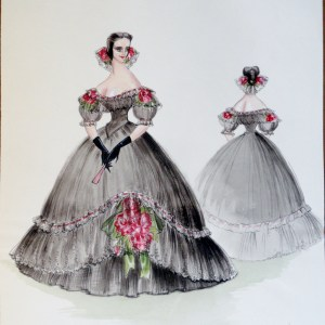 Rachel Felix in full Spanish style black gown with rose accents. Pen and Ink and Gouache. From the Rachel Portfolio by Owen Hyde Clark. Signed.