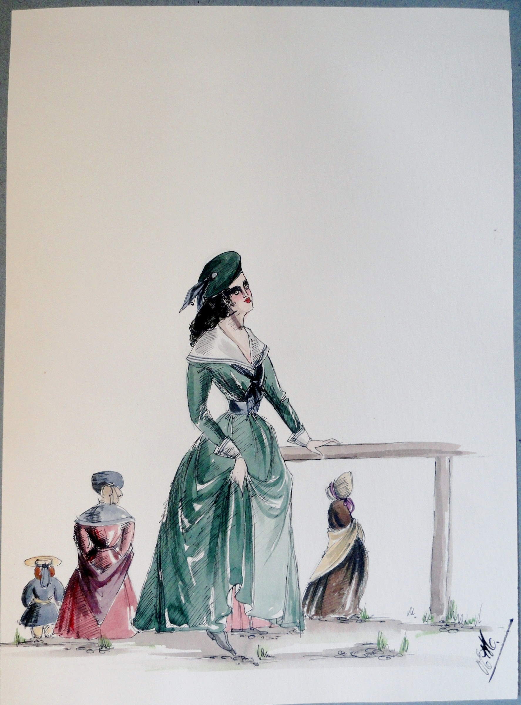 Rachel in green dress and beret. Pen and ink and watercolor painting. Signed.  From the Rachel Portfolio by Owen Hyde Clark. $100.00