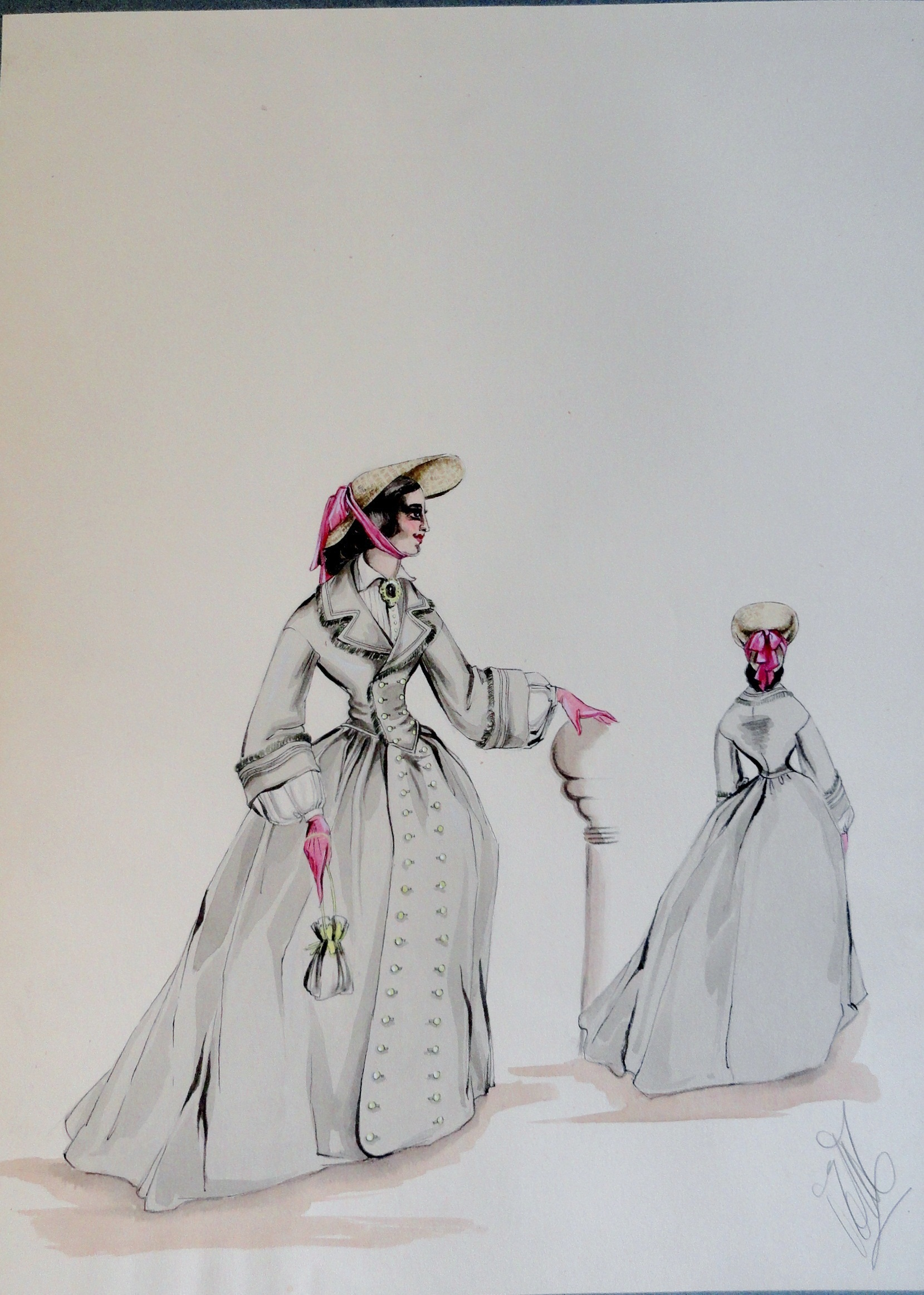 Rachel long grey dress and pink gloves. Pen and ink and watercolor painting. Signed.  From the Rachel Portfolio by Owen Hyde Clark. $300.00.