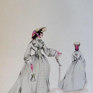 Rachel long grey dress and pink gloves. Pen and ink and watercolor painting. Signed.  From the Rachel Portfolio by Owen Hyde Clark.