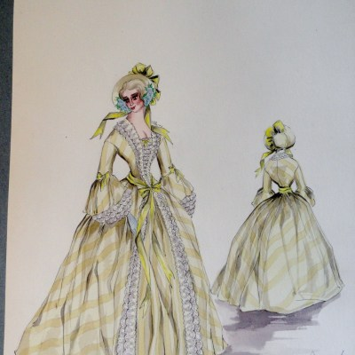 Rachel sister Annette in long yellow gown and bonnet . Pen and ink and gouache painting on paper. From the Rachel Portfolio by Owen Hyde Clark.