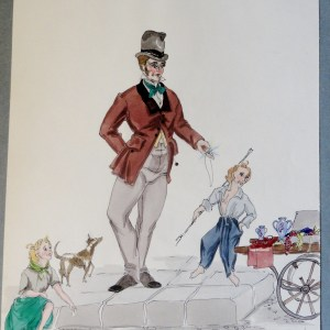 Rachel Felixs' father  with boy and girl and dog. Pen and ink and watercolor Signed.  From the Rachel Portfolio by Owen Hyde Clark.
