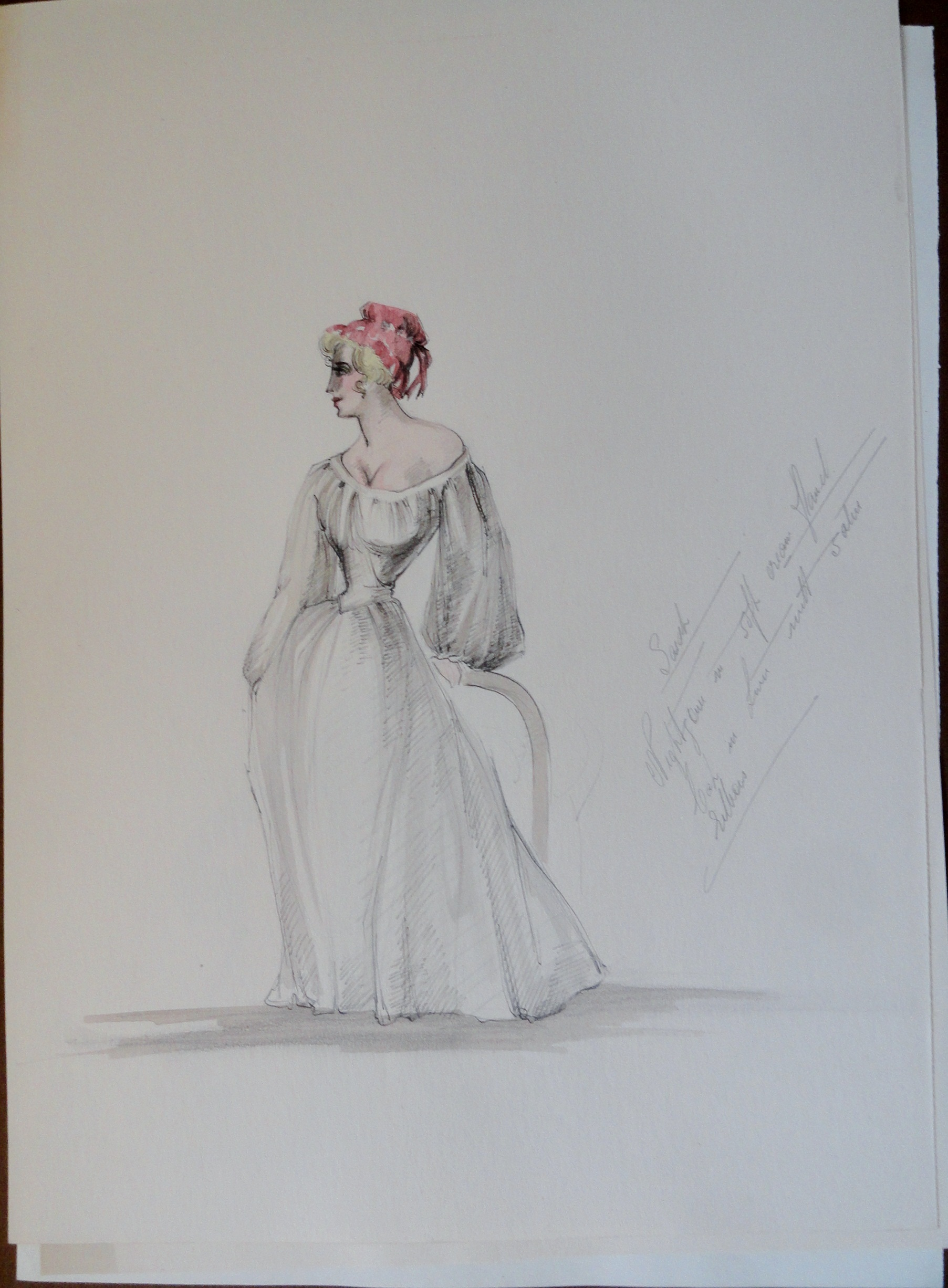 Rachel simple white dress red hat with notes. Unsigned. Pen and ink and watercolor.  From the Rachel Portfolio by Owen Hyde Clark. $50.00