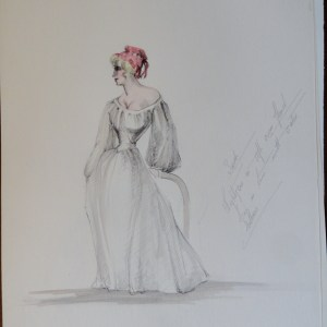 Rachel simple white dress red hat with notes. Unsigned. Pen and ink and watercolor.  From the Rachel Portfolio by Owen Hyde Clark.