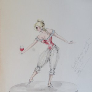 Rachels' sister Annette dancing on a table. Pen and ink and watercolor on paper. Unsigned, With artists notes. From the Rachel Portfolio by Owen Hyde Clark.