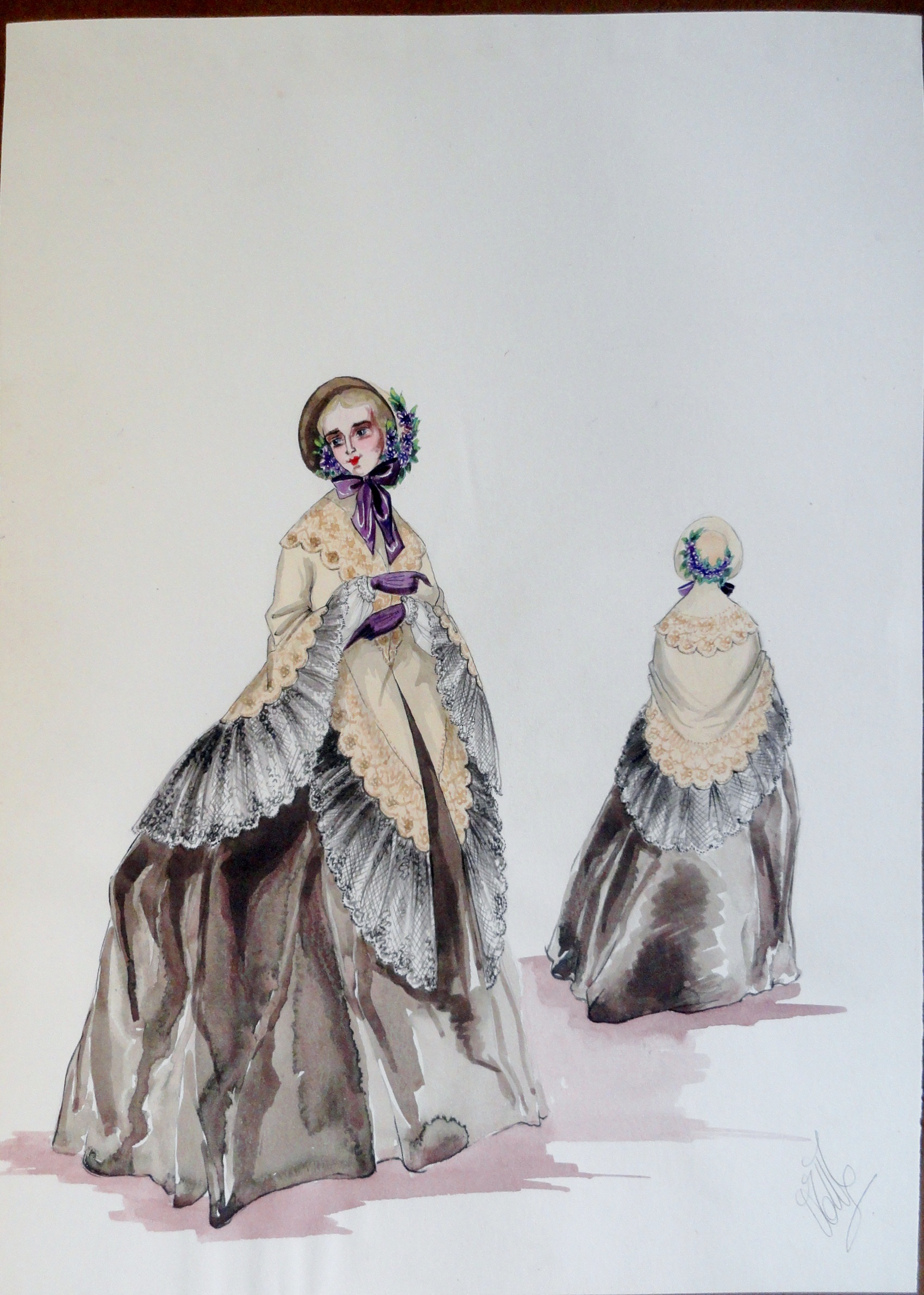 Rachels sister in long brown dress bonnet and shawl. Pen and ink and watercolor. Signed.  From the Rachel Portfolio by Owen Hyde Clark. $300.00.