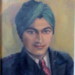 Young Indian Officer in Green Turban. Mid century portrait painting by V. elliott fergusson, 1950.