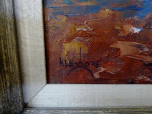 Ken Gore signature on Blue Reflection painting