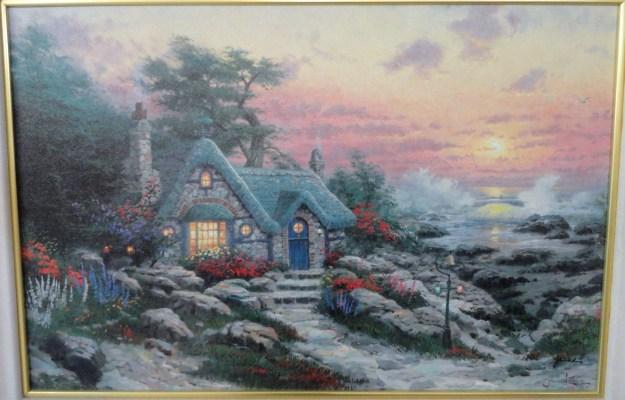Thomas Kinkade Cottage by the Sea print on canvas