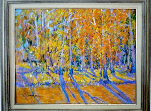 """Earline W. Barnes AUTUMN. 22"""" x 28"""". 29"""" x 35"""" framed Oil and pastel on board."""