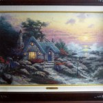 Thomas Kinkade Cottage by the Sea framed with COA