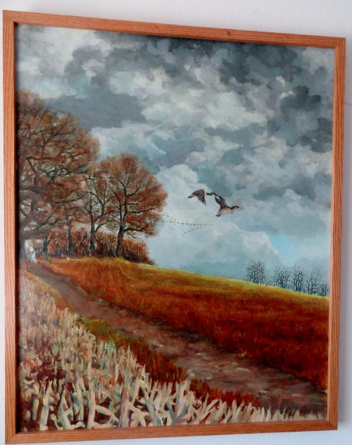 "Geese in flight by Robert F. Travis 33 inches"" x 27""inches untitled oil on masonite board, Circa 1970's. Make offer."