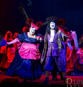 John George Campbell as Thenardier, and Leslie Vechionne as Mademoselle Thenardier, perfroming Beggars at the Feast in Les Miserables.