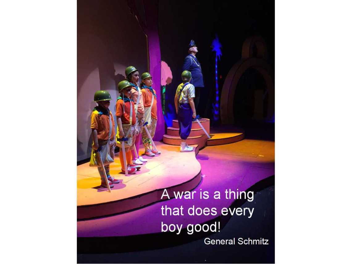 John George Campbell as General Schmitz in Seussical, proclaiming A war is a thing that does every boy good